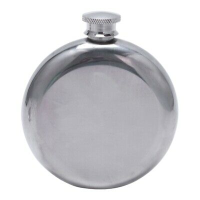 Mini Portable Round Stainless Steel Flask & Funnel Set, 5 oz Silver Y5P2