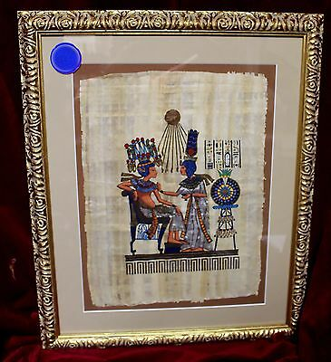 """Egyptian Painting, Hand-Painted on Papyrus, """"Before the Throne of the King"""""""