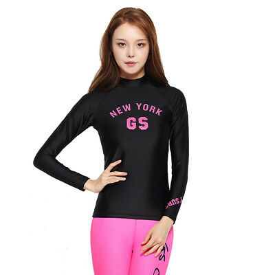 New Womens Quick Dry Long Sleeve Swimwear Scuba Wetsuit Diving Surfing Suit Tops