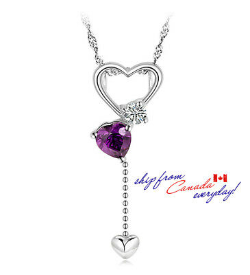 S925 Sterling Silver Heart Shaped Dangle Pendant W/ or W/O Chain