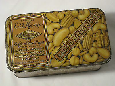 VINTAGE E.F. KEMP SALTED MIXED NUTS TIN  DATED 1926, Golden Glow Shops, Boston