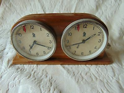 Vintage Wooden Chess Set Set Clock Timer Tested And Working