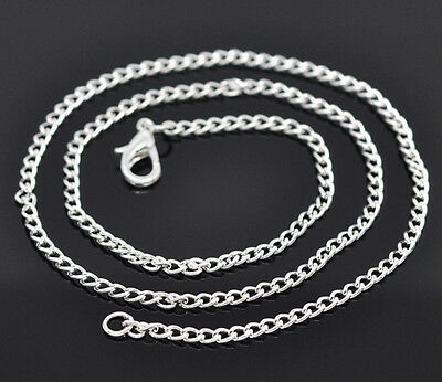 "48 New Silver Plated Curb Chain 18""Necklaces + Lobster Clasp"