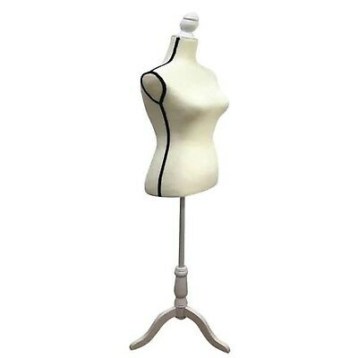 Female Mannequin Torso Clothes White Dress Form Display with Tripod Stand