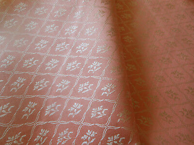 Vintage French Petal Shell Pink Floral Trellis Damask Cotton Ticking Fabric ~
