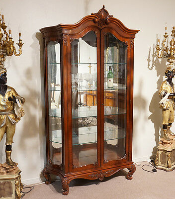 Louis XV style China display Cabinet traditional mahogany with LED lights