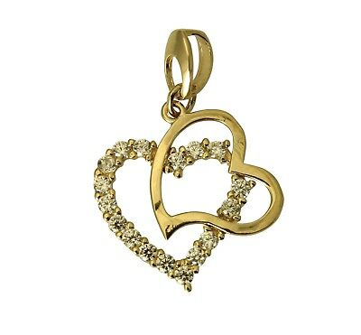 14K Solid Real Yellow Gold Double Heart Love Small Charm Pendant