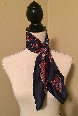 Vtg Neck/handkercheif Scarf Blue Red White Geometric Pattern Made In Italy