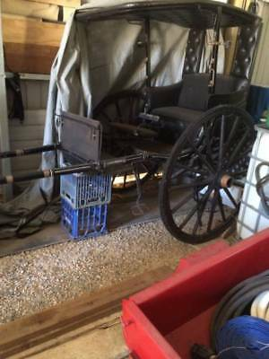 Antique 1873 French 2 Seater CELESE Horse Buggy Carriage w/ Driver Seat