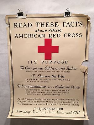 "WW1 ""Read These Facts"" American Red Cross Poster - Care For Soldiers (21"" X 28"")"