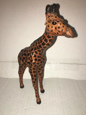 """VINTAGE Leather Wrapped Figurine Giraffe 9 1/4"""" Tall"""
