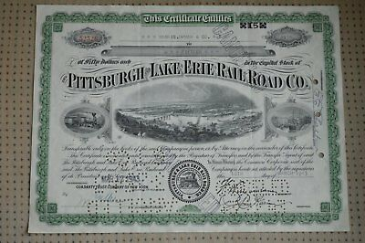Vintage Pittsburgh Lake Erie Railroad Co. Stock Certificate
