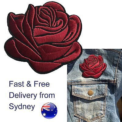 Dark red Rose head Iron on patch  - embroided red shining love flower blossom