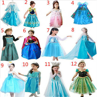 FROZEN DRESS ELSA ANNA PRINCESS KIDS/COSTUME PARTY Cosplay  SNOW QUEEN HALLOWEEN