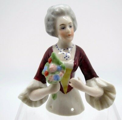 Antique Half Doll Ruffled Sleeves and Bouquet of Flowers Pin Cushion
