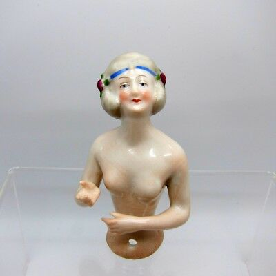 Antique Half Doll Sweet Lady Looking UP Pin Cushion