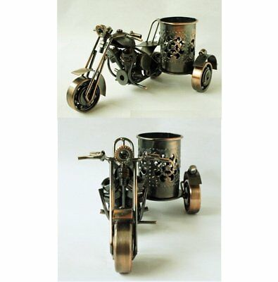 office desktop tabletop motorcycle metal pencil pen holder Collectible Steampunk
