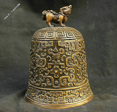 "11"" Chinese Excellent Pure Bronze Handmade Foo Dog Dogs Beast Buddha Bell Statue"