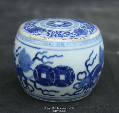 7cm Chinese Old White and Blue Porcelain Handmade Beast Metering tool Pot Jar