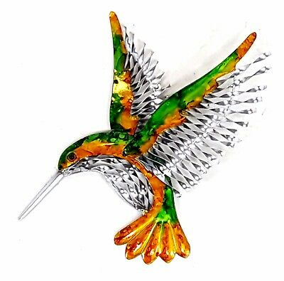 Hummingbird Metal Hanging Wall Art Bird Vibrant Colours Home Garden Decor 42 cm