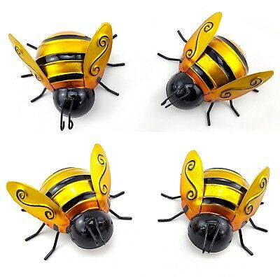 Bee Metal Wall Art Statue Hanging Sculpture Ornament Garden Décor 9 cm *Set/4*