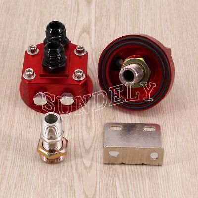 AN10 Oil Filter Relocation Kit+Universal Cooler Sandwich Plate Adapter Red