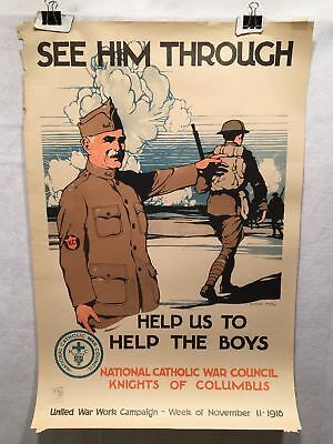 "1918 WW1 ""See Him Through"" National Catholic War Council Poster (20"" X 30"")"