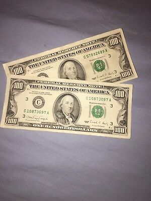 1974-1990 Old One Hundred Dollar Bill Federal Reserve Note $100