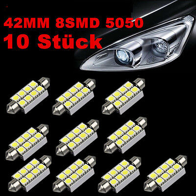 10x LED Soffitte Canbus 42mm 5050 8 SMD c5w weiß Auto Innenraum Beleuchtung 4W