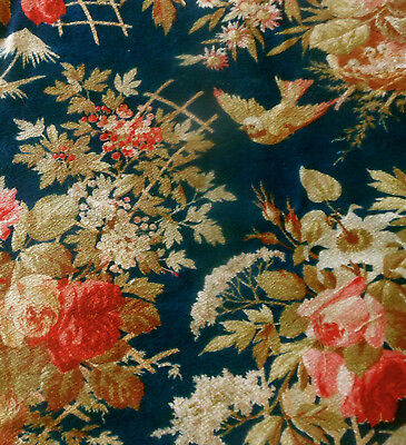 Antique French 19thc Bird Roses Nest Cotton Fabric ~ Dk. Blue Red Pink Brown