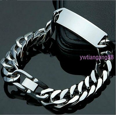 "8.66"" High Polished Silver Stainless Steel Mens ID Link Bracelet Chain Heavy"