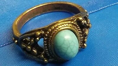 Beautiful Copper Tone Antique Look Faux Blue Stone Ring Size 5