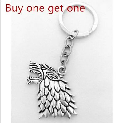 "Ancient Silver ""Game of Thrones""  Stark wolf Charm Key Ring Gift"