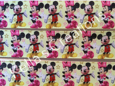 """Minnie & Mickey Mouse grosgrain ribbon 1"""" sold by 2 M - Craft - Hair - Cake"""