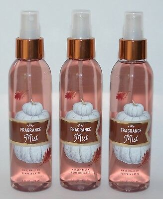 3 Bath & Body Works Marshmallow Pumpkin Latte Fine Fragrance Mist Spray 6 Oz Lot