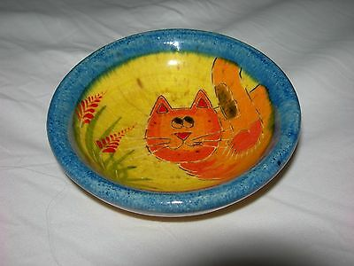Vtg ORANGE CAT ART POTTERY Ring Dish~Jewelry TRINKET BOWL~Vanity Dresser Decor