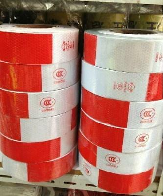 """20 Foot Roll  Reflective Conspicuity Tape wihte red 6m=20' CCC=DOT-C2 20pcs 2"""""""