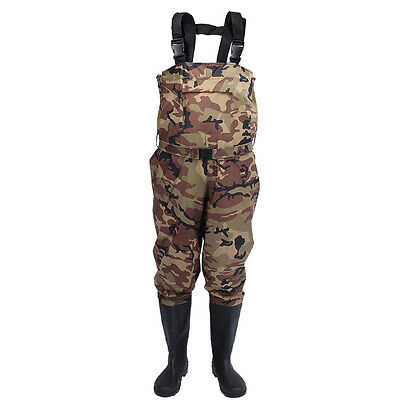 Camouflage Breathable Chest Waders Waterproof Fishing Waders Stocking + Shoe