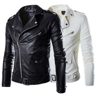 Men's Slim Fit PU Leather Biker Jacket Cool Motorcycle Coat Overcoat Outwear US