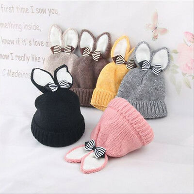 Winter Baby Beanie Hat Warm Cute Rabbit Ear Bowknot Toddler Knitted Cap Funny