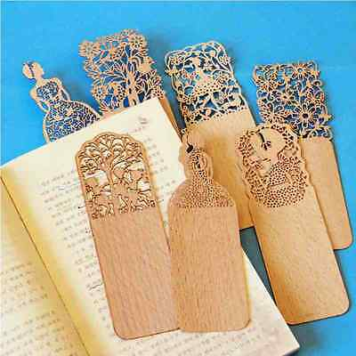 Retro 3pcs Hollow Wooden Bookmarks Book Marks Stationery School Student Gifts