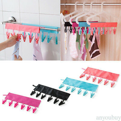 Portable Hanging Clothes Socks Towels Clip Cloth Hanger For Travel 6 Clips