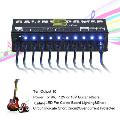 Portable Mini Guitar Effects Pedal Board Power Supply 9V 12V 18V Output 10 Ways