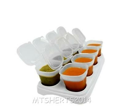 8 Baby Food Weaning Freezing Cubes Tray Pots Lids Freezer Storage Container E71