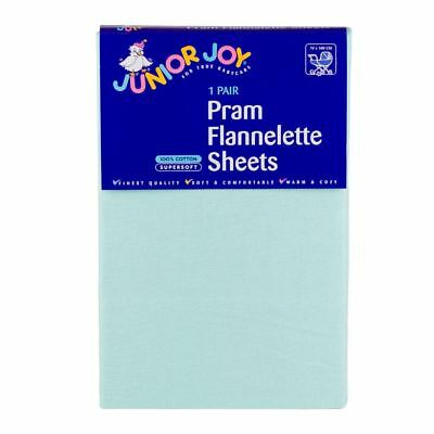 2 x Junior Joy Baby Pram Flannelette Sheets 100% Soft Cotton Pack - Mint
