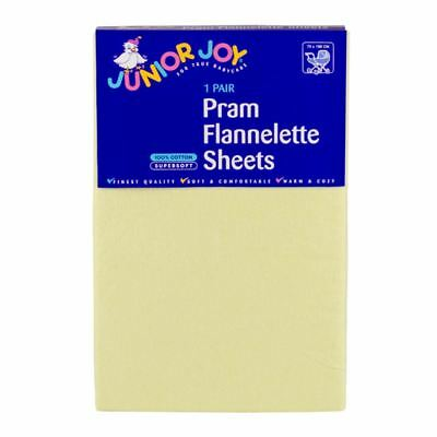 2 x Junior Joy Baby Pram Flannelette Sheets 100% Soft Cotton Pack - Lemon