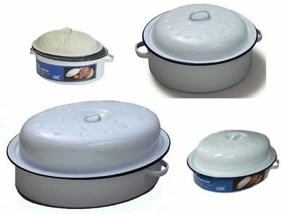 Round - Oval Enamel Roaster Oven Dish Roasting Casserole Tray Pan White With Lid