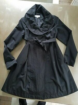 LIZ LANGE maternity XS Black Lined Peacoat  Trench Coat with Belt