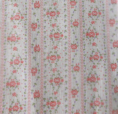 Vintage Small Scale Floral Cotton Fabric ~ Coral Pink Lavender ~ dolls