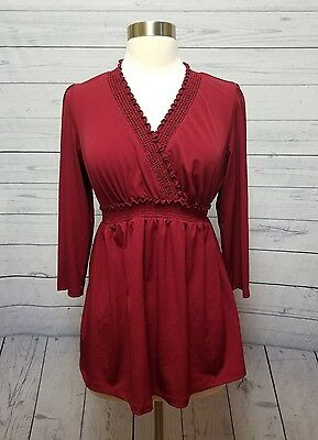 Motherhood Maternity Red Stretch V Neck Blouse Women's Size M Medium